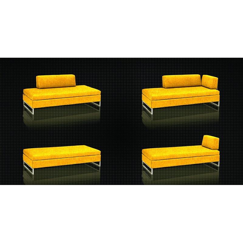 Swissplus Doppio Sofa Bed Complete Feet Square Chromed